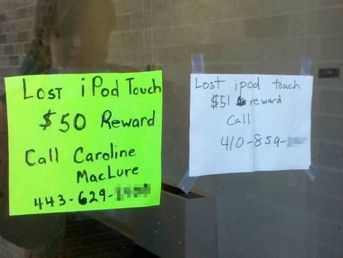 Kayıp iPod Touch 50 Dolar ödül - şurayı arayın. 51 Dolar şurayı arayın!